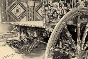 le filet à l'arrière de la charrette sicilienne, dessin de gaston vuiller