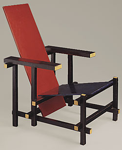 la chaise rouge et bleue de gerrit rietveld. Black Bedroom Furniture Sets. Home Design Ideas